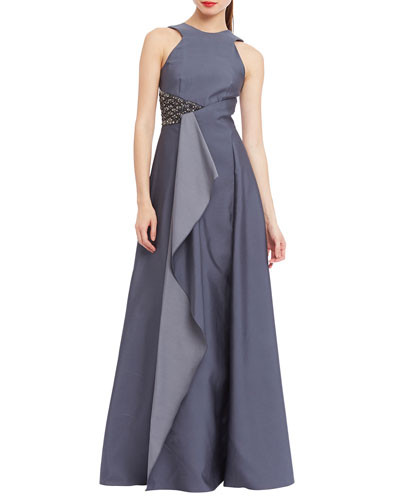 Halter Beaded-Waist Gown W/ Ruffle