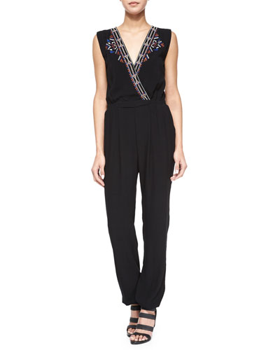 Embroidered Surplice-Front Jumpsuit, Black