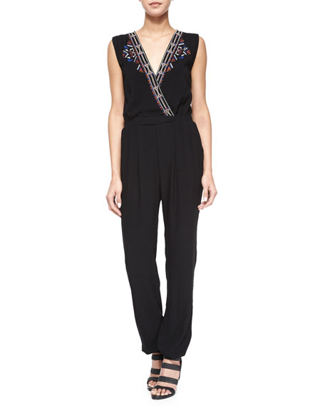 Cynthia Vincent Embroidered Surplice-Front Jumpsuit, Black