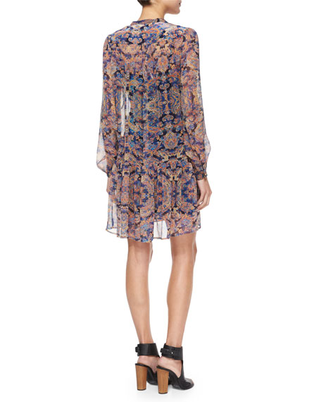 Taj Paisley Chiffon Mini Dress, Black/Multicolor