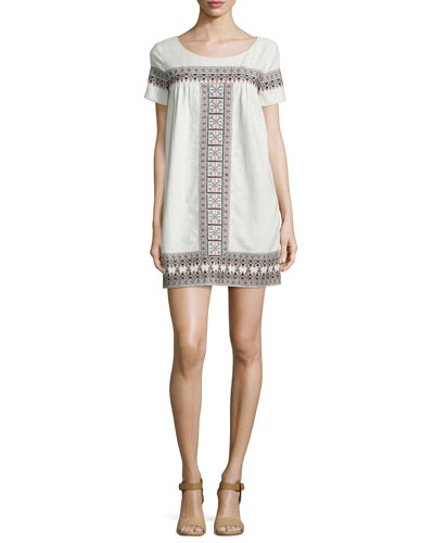 Short-Sleeve Embroidered Shift Dress, Cream