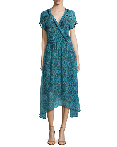 Printed Short-Sleeve Faux-Wrap Maxi Dress, Dusk