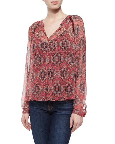 Long-Sleeve Mandarin-Print Top, Tangelo
