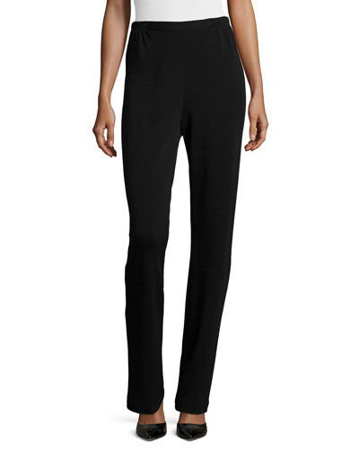 Flat Knit Wool Pants, Black, Women's