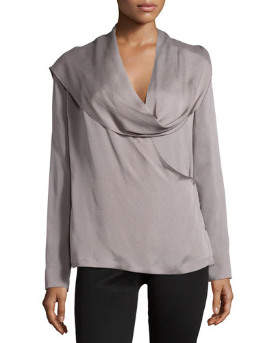 Long-Sleeve Woven Top with Scarf, Platinum