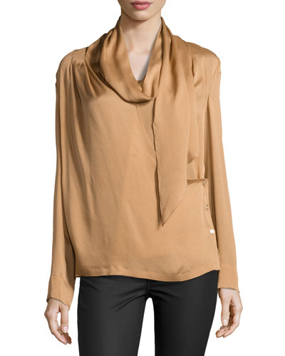 Long-Sleeve Woven Blouse w/Scarf, Brass