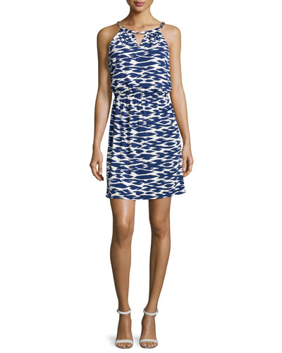 Woven-Chain Neckline Printed Dress, Blueprint Multi