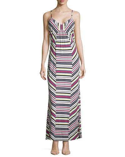 Sleeveless Striped Maxi Dress, Dark Midnight Multi