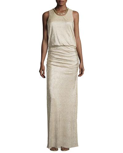 Woven-Chain Neckline Metallic Gown, Gold/Silver