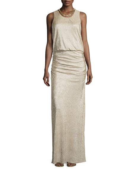 Laundry by Shelli Segal Woven-Chain Neckline Metallic Gown, Gold/Silver