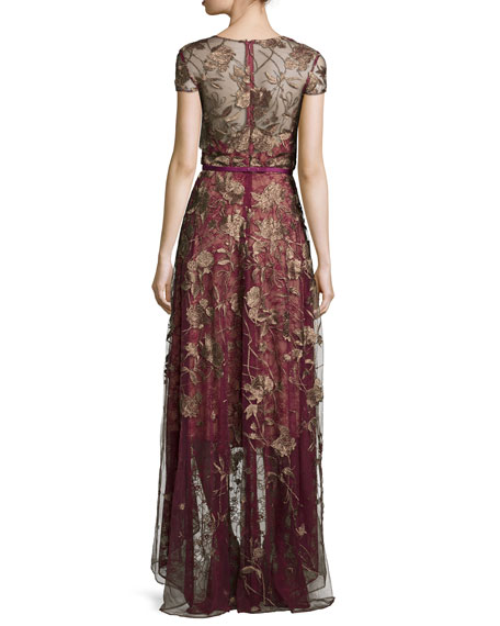 Short-Sleeve Belted High-Low Gown