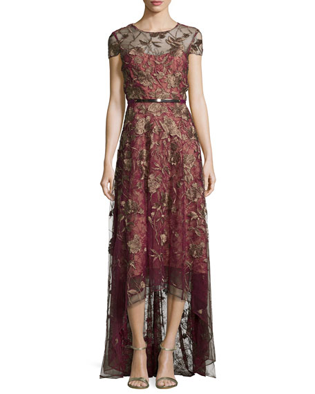 Marchesa Notte Short-Sleeve Belted High-Low Gown