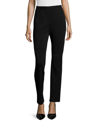 Flat Wool Slim Pants, Petite