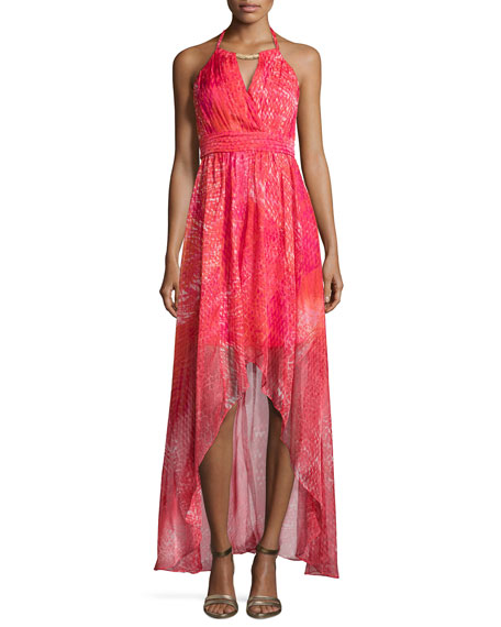 Golden-Neckline High-Low Gown, Barberry Multi
