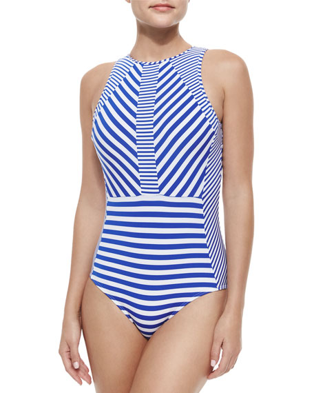 JETS by Jessika Allen Meridian Striped High-Neck One-Piece Swimsuit