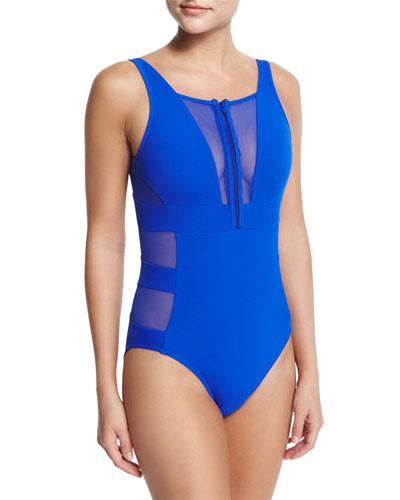 Aspire Zip-Front Mesh One-Piece Swimsuit