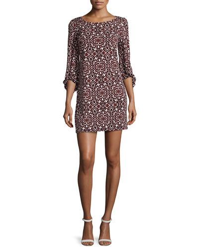 Bell-Sleeve Printed Shift Dress, Berry Multi