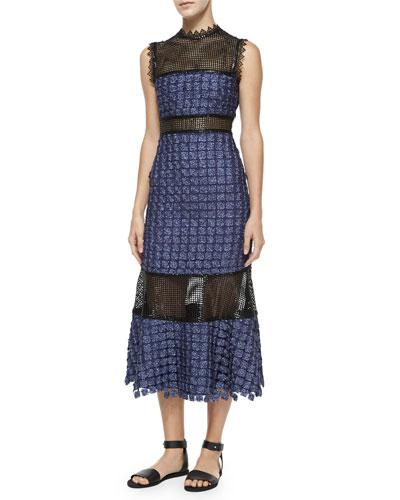 Ava Lace-Inset Midi Dress, Navy/Black