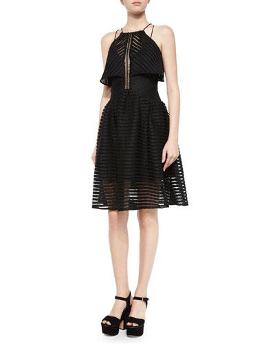 Crochet Cropped-Overlay Dress, Black