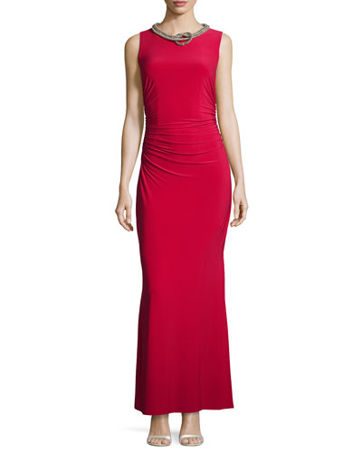 Sleeveless Embellished-Neck Gown, Baton Rouge