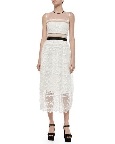 Lila Mixed-Lace Midi Dress, White