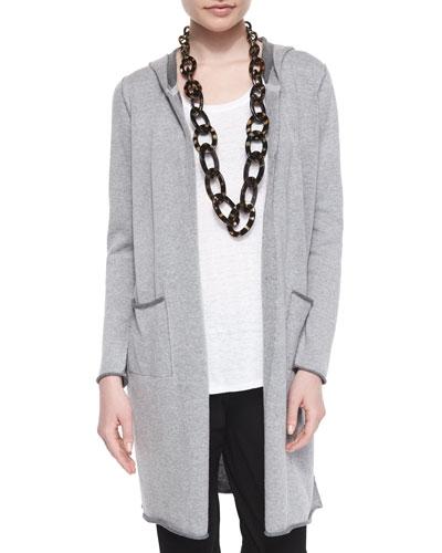 Hooded Organic Cotton Long Cardigan, Petite