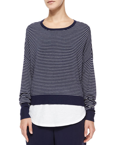 Long-Sleeve Striped Box Top