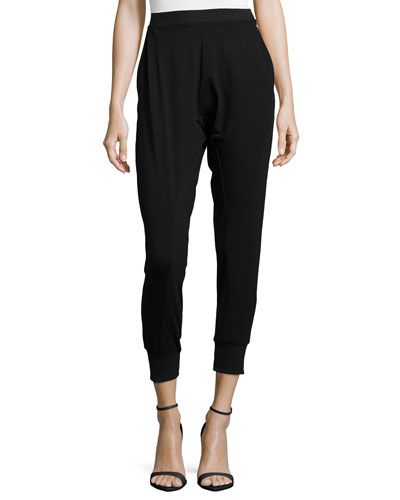 Jersey Ankle Harem Pants, Black