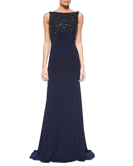 Jovani Sleeveless Beaded Open-Back Gown