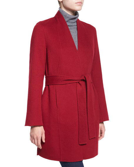 Neiman Marcus Cashmere Collection Double-Face Woven Cashmere Coat