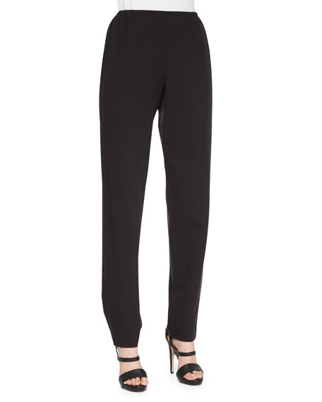 Caroline Rose Travel Gabardine Slim Pants, Black