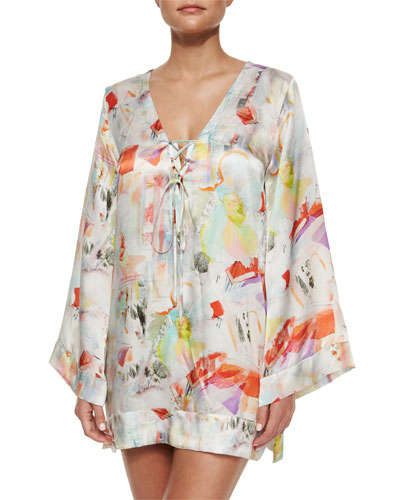 Serena Tie-Front Printed Coverup