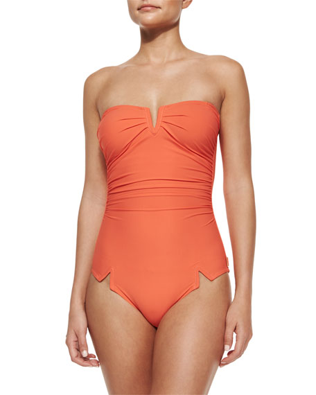 Shan Serena Solid V'd One-Piece Swimsuit
