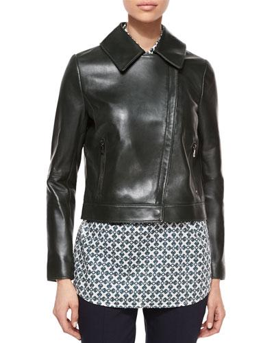 Asymmetric-Zip Leather Jacket