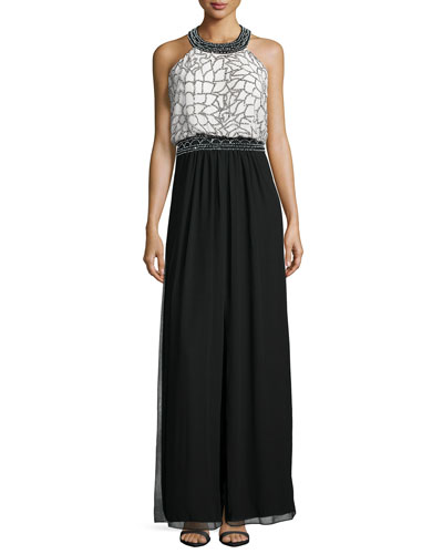 Sleeveless Halter-Neck Embellished Gown, Black/Ivory