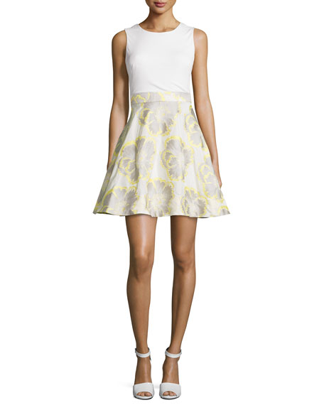 Sleeveless Floral-Print Party Dress, Ivory/Lemon