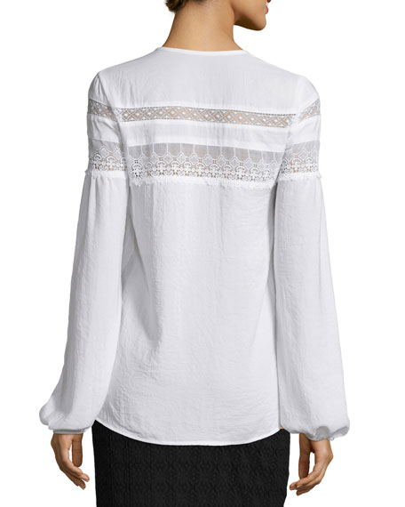 Long-Sleeve Embroidered-Lace Peasant Top, White