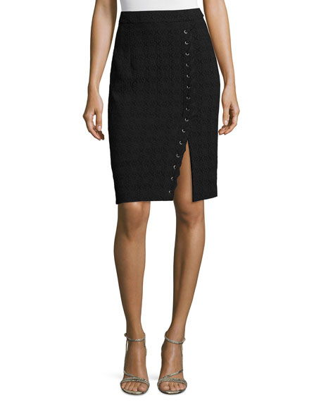 Nanette Lepore Textured Pencil Skirt W/Lace-Up Slit, Black
