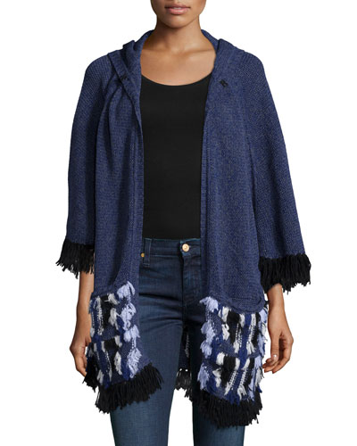 Embroidered Fringed Poncho W/ Hood