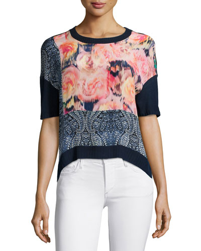 Short-Sleeve Floral & Paisley Crop Top