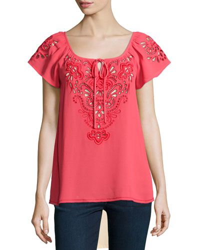 Short-Sleeve Embroidered Peasant Top, Coral