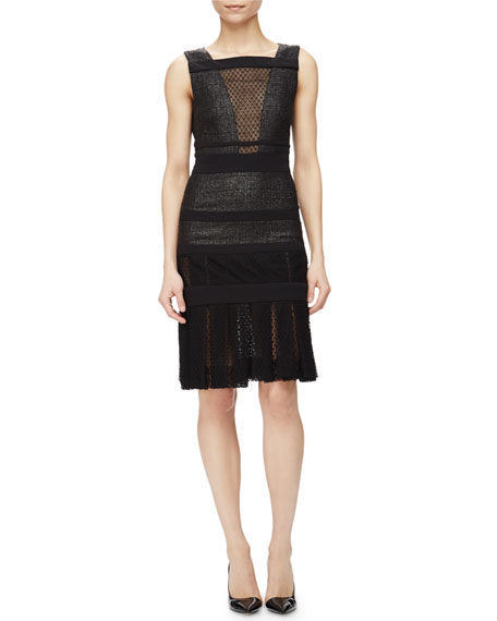 J. Mendel Sleeveless Lacquered Tweed Dress