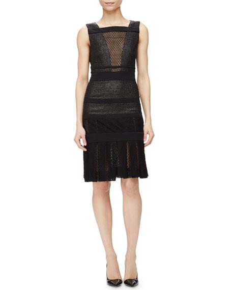 J. Mendel Sleeveless Lacquered Tweed Dress