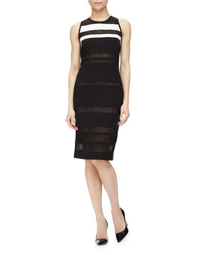 Sleeveless Mixed Lace Striped Dress