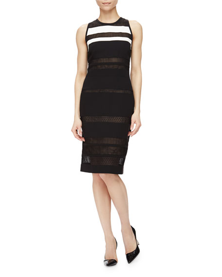 J. Mendel Sleeveless Mixed Lace Striped Dress