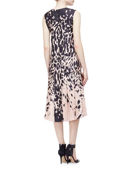 Sleeveless Printed Pleated Dress