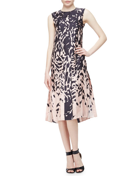 J. Mendel Sleeveless Printed Pleated Dress