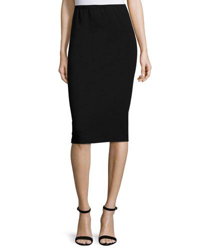 Punto Milano Long Pencil Skirt, Black