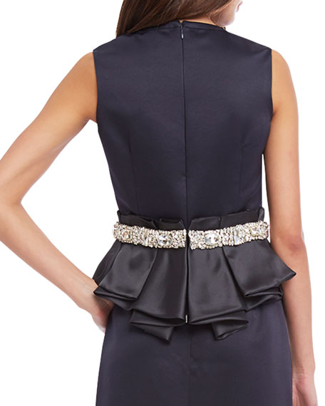Sloane Embellished-Waist Peplum Top, Midnight Blue