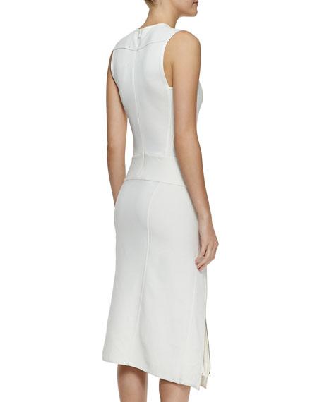 Sleeveless Zip Dress with Satin Facing
